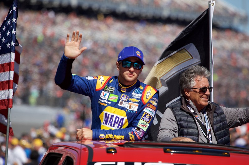 Chase Elliot and Mario Andretti