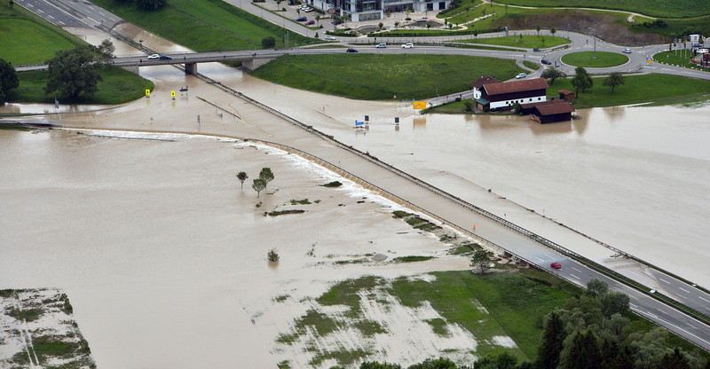 . The motorway A8 is flooded near Grabenstaett at the lake Chiemsee, south of Munich, southern Germany, Monday, June 3, 2013. Flooding has spread across a large area of central Europe following heavy rainfall in recent days. (AP Photo/dpa, Peter Kneffel)