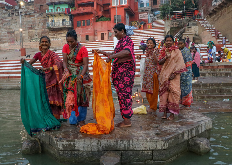 Women washing their clothes in the Ganges.