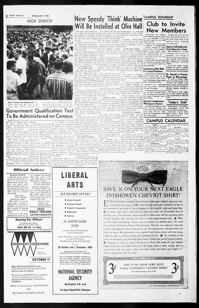 Daily Trojan, Vol. 55, No. 11, October 07, 1963