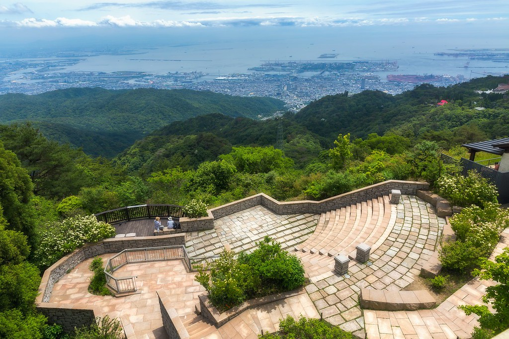 Aerial view of Kobe City from Mount Rokko
