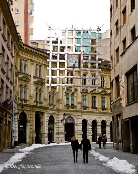Hanging gate sculpture in Bratislava