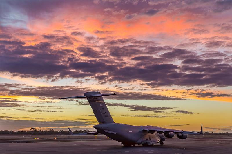 United States Air Force C17A Globemaster III at Rockhampton Airport during Talisman Saber, 01-07-19.