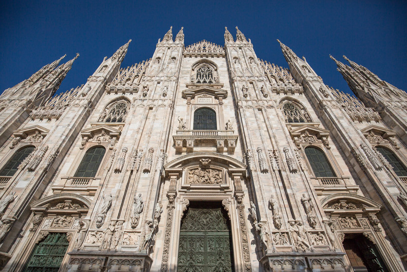 The facade of the Duomo di Milano. Unfortunately, most of the rest of the exterior and plaza in front were covered in scaffolding.