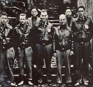 Taken in China in April 1942, this is crew #1, piloted by Lieutenant-Colonel Jimmy Doolittle (third from right).    At the far right is Hank Potter, a native of Pierre, South Dakota.  Potter was navigator for this crew.  He died in May 2002.           Air Force photo