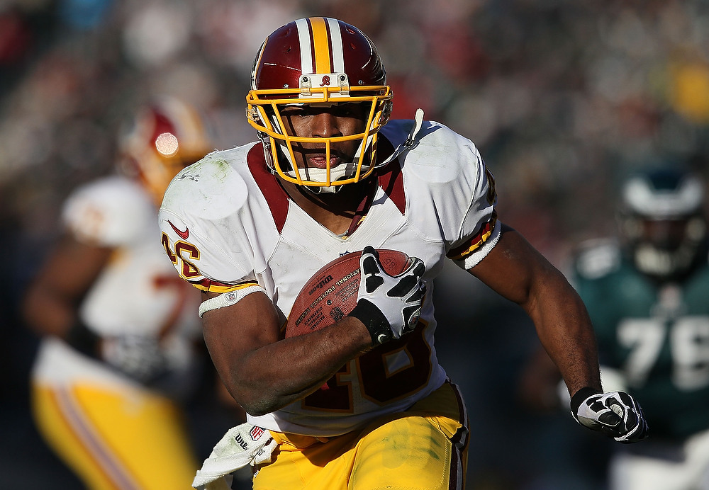 . Alfred Morris #46 of the Washington Redskins runs with the ball against the Philadelphia Eagles at Lincoln Financial Field on December 23, 2012 in Philadelphia, Pennsylvania.  (Photo by Alex Trautwig/Getty Images)