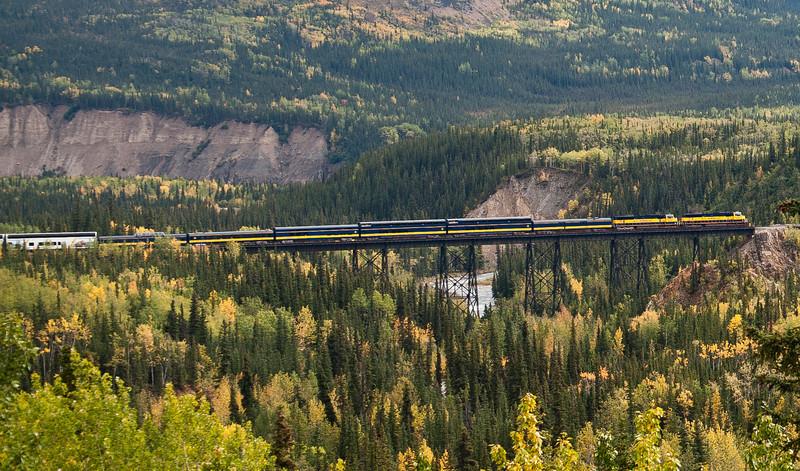 The Alaska railroad passenger train crosses the bridge in Denali, after just leaving the Denali station near the park entrance.