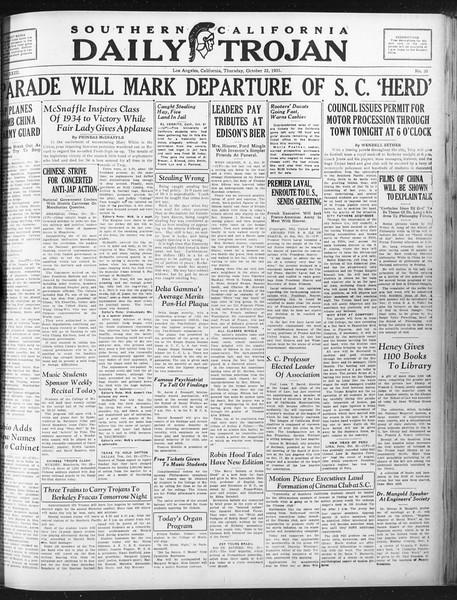 Daily Trojan, Vol. 23, No. 30, October 22, 1931