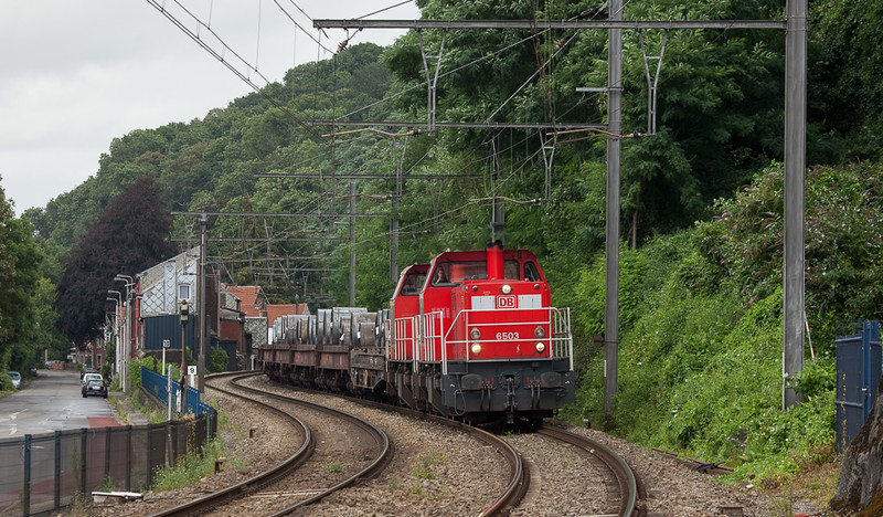 DBS-NL 6503 leads the steel train 47512 (Bremen/D - Renory) through Cheratte-Bas.