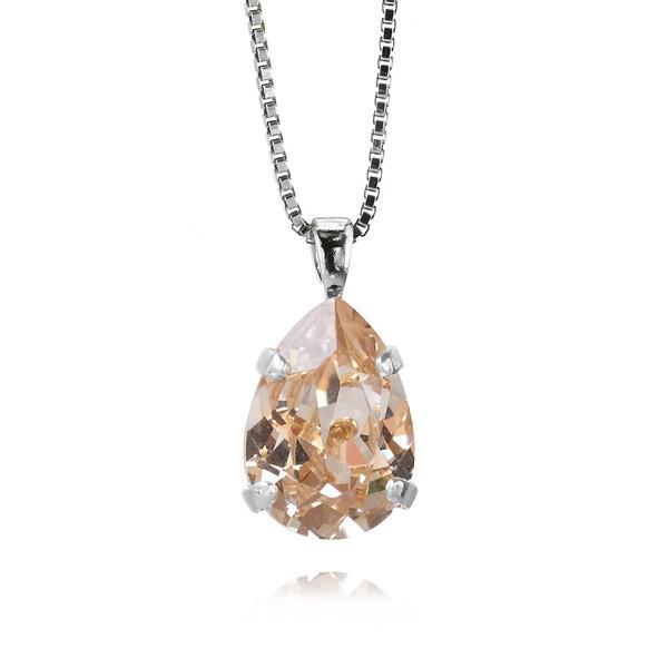 Mini Drop Necklace / Silk / Rhodium