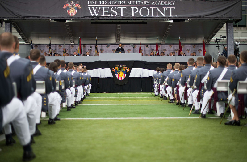 . US President Barack Obama delivers the commencement address to the 2014 graduating class at the United States Military Academy at West Point, New York, May 28, 2014.    (JIM WATSON/AFP/Getty Images)