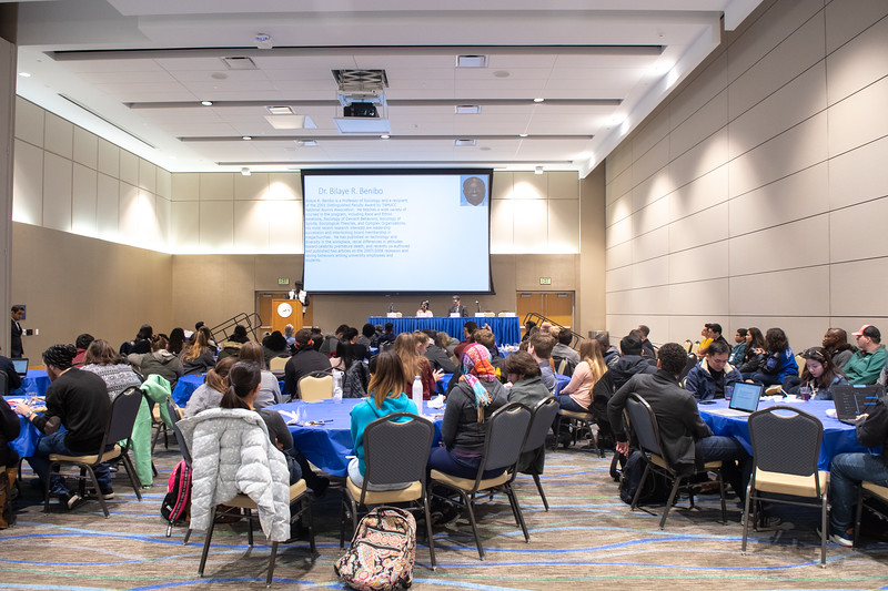 Students attending the International Symposium in the Anchor Ballroom.
