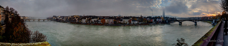 Bridge to Bridge. 6 photo HDR panorama. Basel, Switzerland