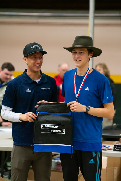 Junior Ben Huston is recognized for his first place finish in the 1000. Vermont Division II Indoor Track State Championships - UVM Gutterson Field House - 2/16/2020