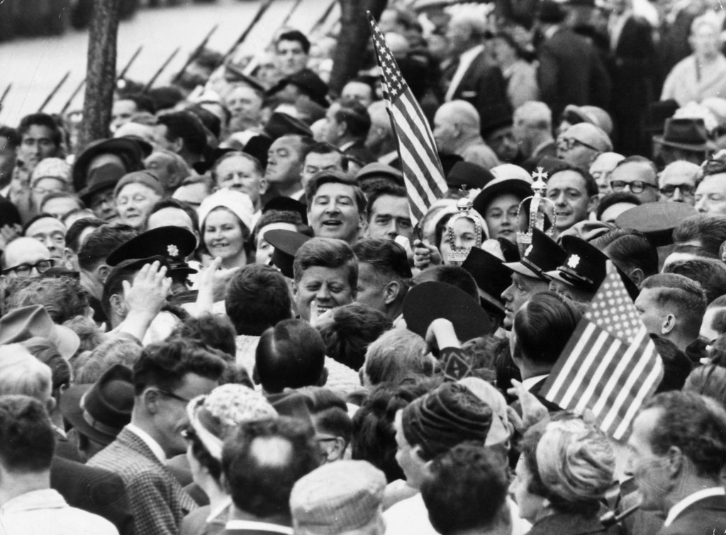 . Kennedy is nearly lost in a crowd of well-wishers during his visit to Cork, Ireland,  on June 18, 1963.  Keystone/Getty Images