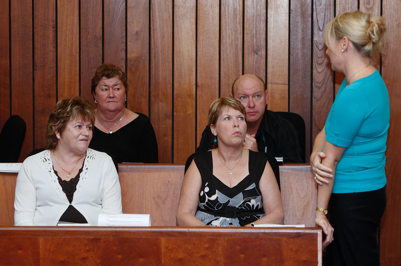 04 August 2008 Townsville, QLD - Family and relatives of the missing sailors from Kaz II during the inquest at Townsville Magistrates court.  (front left) Fran Tunstead, wife of missing man Peter Tunstead; (front right) Jenny Batten, wife of missing man Des Batten; (rear left) Marj Tunstead, wife of missing man James Tunstead; (rear right) Shane Tunstead, son of missing man James Tunstead talk with Karyn Gray, daughter of missing man James Tunstead - Photo: Cameron Laird (Ph: 0418 238811)