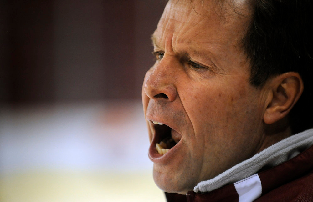. University of Denver Head coach George Gwozdecky, during hockey practice at the Magness Areana in Denver CO. (Craig F. Walker/The Denver Post.)