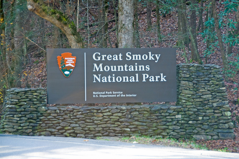 Sign at Great Smoky Mountains National Park in Gatlinburg, Tenneessee