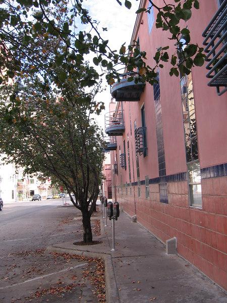 View of Matt's streetside balcony (it's the second one) from the 4th street sidewalk.