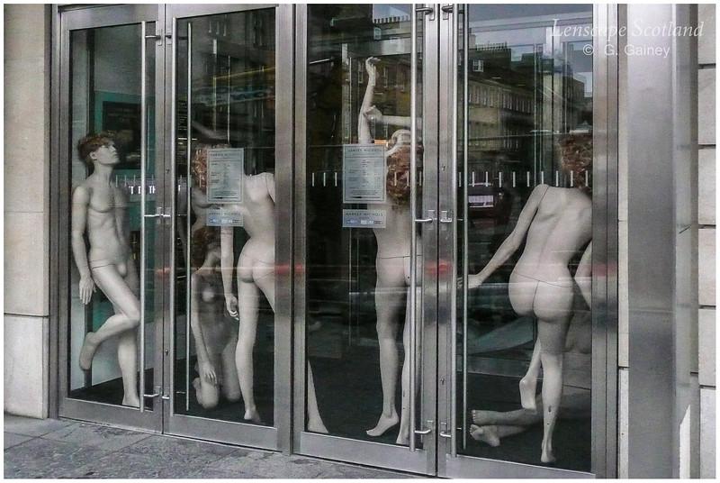Mannequins in doorway of Harvey Nichols, St. Andrew Square