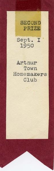 AR018.  Arthur Town Homemakers Club Second Prize ribbon – 1 .jpg