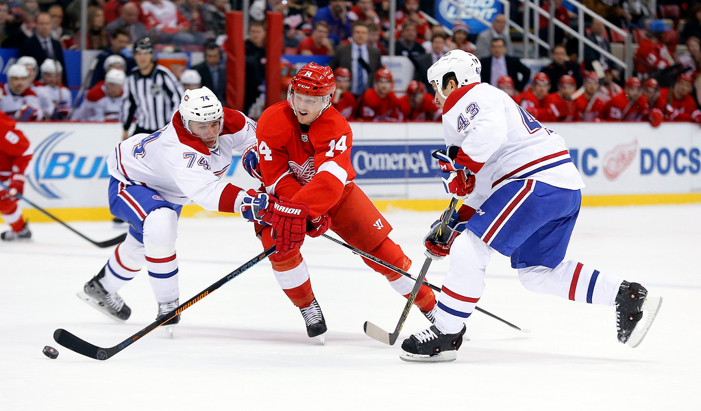 . Detroit Red Wings center Gustav Nyquist (14) skates against Montreal Canadiens defenseman Alexei Emelin (74) and defenseman Mike Weaver (43) in the first period of an NHL hockey game in Detroit, Sunday, Nov. 16, 2014. (AP Photo/Paul Sancya)
