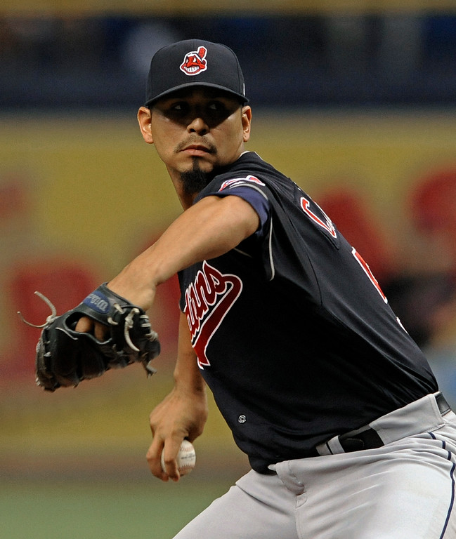 . Cleveland Indians starter Carlos Carrasco pitches against the Tampa Bay Rays during the first inning of a baseball game Friday, Aug. 11, 2017, in St. Petersburg, Fla. (AP Photo/Steve Nesius)