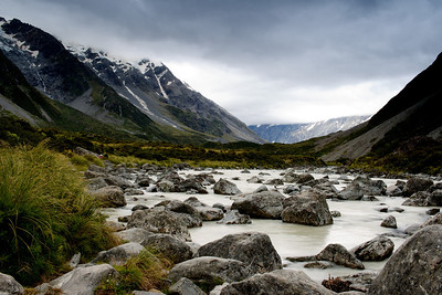 Rivers and mountains, Mt. Cook, New Zealand
