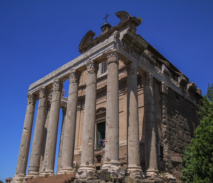The Temple of Antoninus and Faustina, built by husband Antonio for his wife Faustina in 141 A.D.