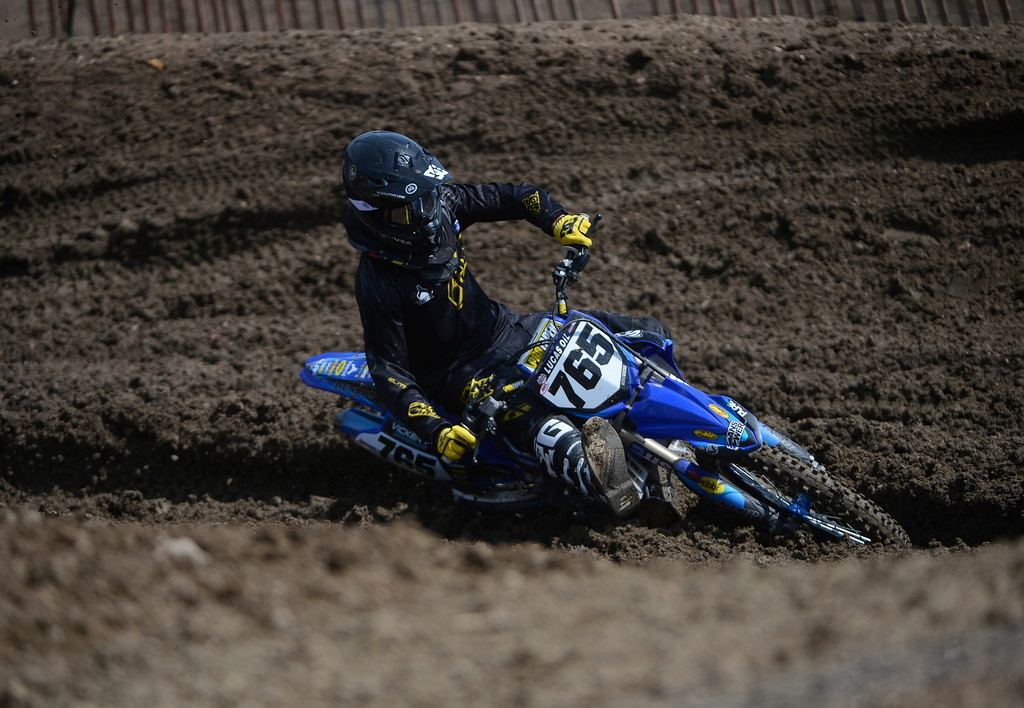 . LAKEWOOD, CO - MAY 23:  Professional motocross rider, Mike Giese, from Sedalia Colorado, round a turn full of ruts during a practice session on media day at the AMA Thunder Valley National at the Thunder Valley Motocross Park in Lakewood Colorado, Thursday May 23, 2013. (Photo By Andy Cross/The Denver Post)