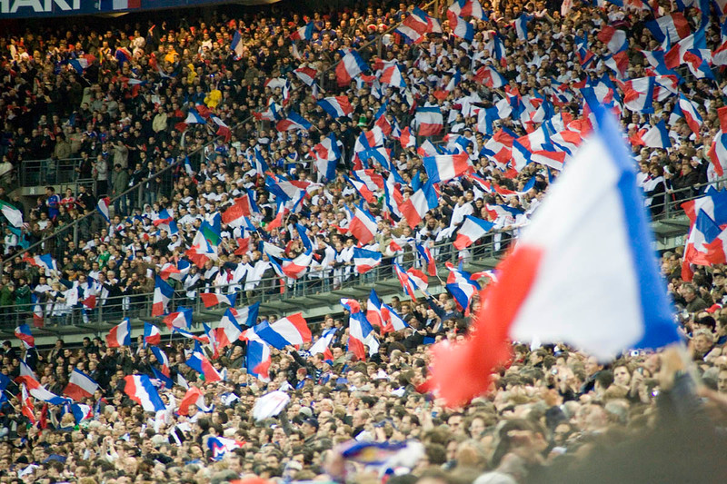 French fans cheer in the Stade de France, Paris, France