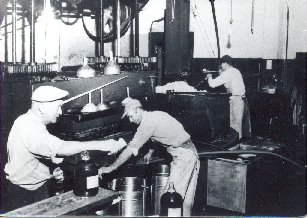 . Yates Cider Mill employees prepare to press apples and make apple cider in 1952. (Photos courtesy of Yates Cider Mill)