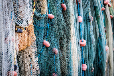Closeup view of fishing net