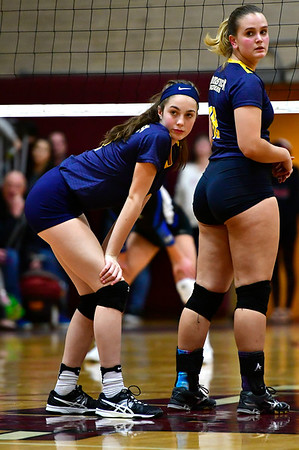11/14/2018 Mike Orazzi | Staff Woodstock Academy's Sierra Bedard (1) and Katherine Papp (18) during the Class L Semifinal State Girls Volleyball Tournament held at Windsor High School Wednesday night.