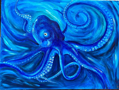 """Blue Camouflage"" (acrylic) by Zainab Cadinouche"