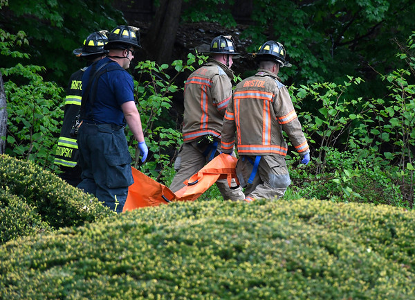 5/12/2018 Mike Orazzi | Staff The scene of a body being recovered from the Pequabuck River on along Memorial Blvd. Saturday morning in Bristol.