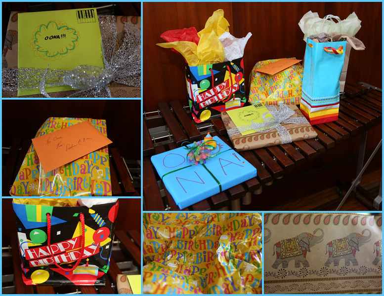 Colorful gift wrappings.