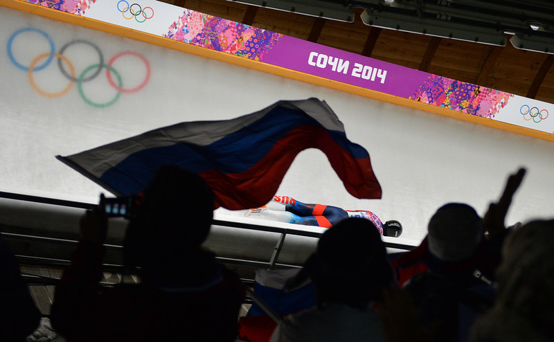. Russia\'s Alexander Tretiakov competes to win gold in the Men\'s Skeleton Heat 4 and final run at the Sanki Sliding Center in Rosa Khutor during the Sochi Winter Olympics on February 15, 2014. (LEON NEAL/AFP/Getty Images)