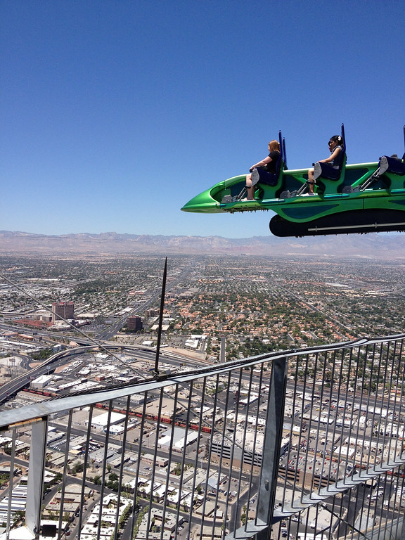 . X-Scream shoots riders 27 feet out over the edge near the top of the Stratosphere Hotel. Kyle Wagner, The Denver Post