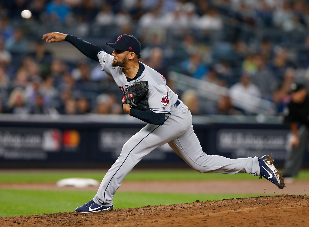 . Cleveland Indians pitcher Danny Salazar delivers against the New York Yankees during the fourth inning in Game 4 of baseball\'s American League Division Series, Monday, Oct. 9, 2017, in New York. (AP Photo/Kathy Willens)