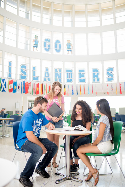 Students gather to study at the University Center.