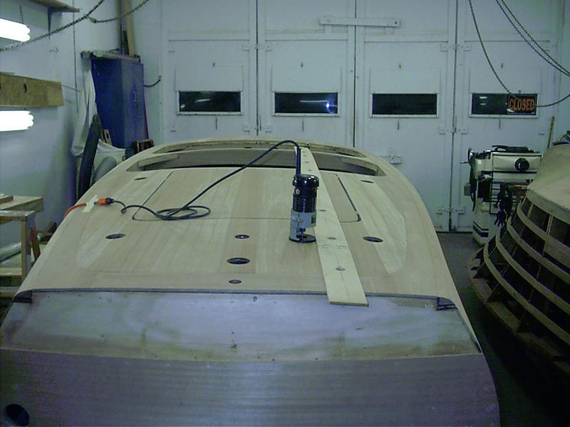 Routing rear deck seams.