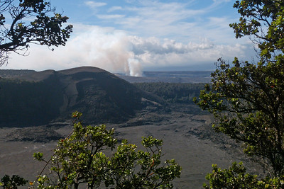 Halema'uma'u Crater Fume Cloud in Distance, Kilauea Iki Crater in Foreground December 2012, Cynthia Meyer, Volcanoes National Park, Hawaii