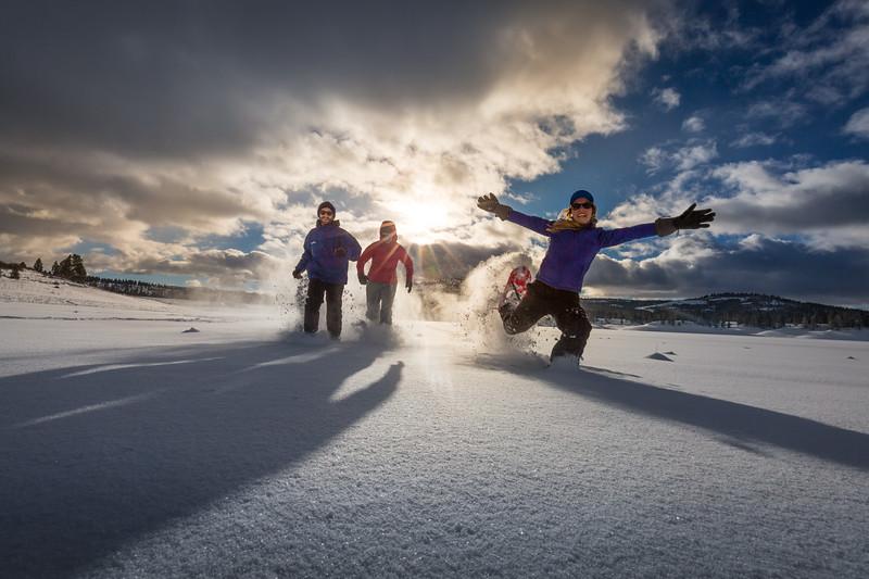 Snowshoeing friends