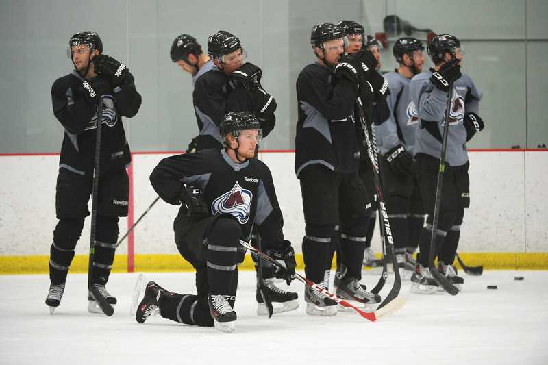 . Gabriel Landeskog of Colorado Avalanche (92), front, is in the team practice for the the first round of the playoff game against Minnesota Wild at Family Sports Center. Centennial, Colorado. April 15. 2014. (Photo by Hyoung Chang/The Denver Post)