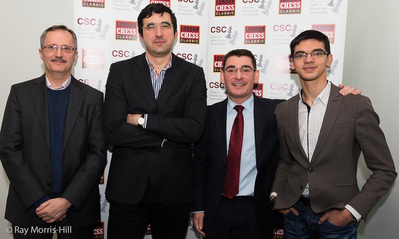 The Pro-Biz Cup Finalists - Russell Picot, Vladimir Kramnik, Rajko Vujatovic and Anish Giri