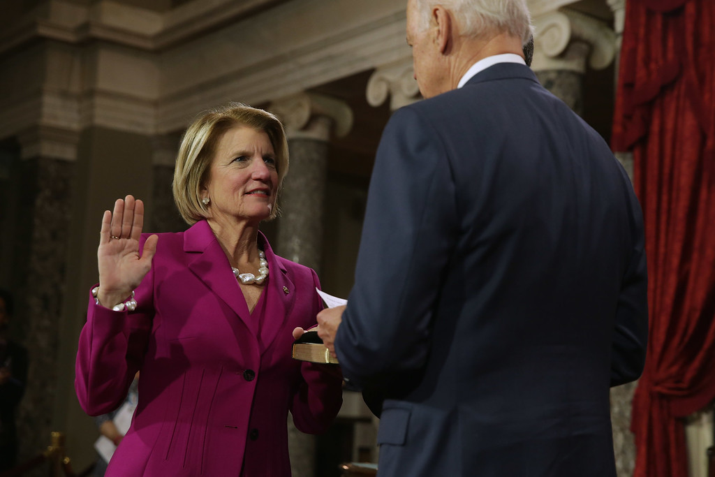 . WASHINGTON, DC - JANUARY 06:  Sen. Shelley Moore Capito (R-WV) is ceremonially sworn in by Vice President Joe Biden in the Old Senate Chamber at the U.S. Capitol January 6, 2015 in Washington, DC. The 114th Congress convened on Tuesday, restoring control of both the House and Senate to the Republicans for the first time in eight years.  (Photo by Chip Somodevilla/Getty Images)