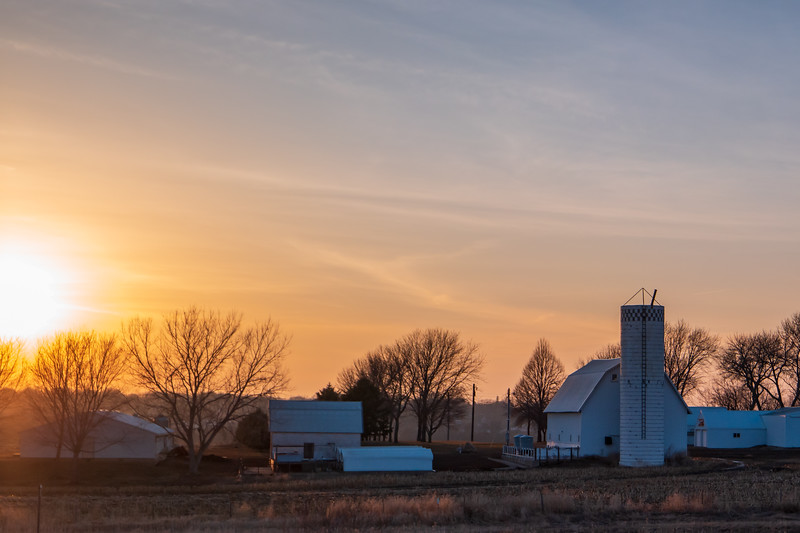 Western Iowa Farm Sunset