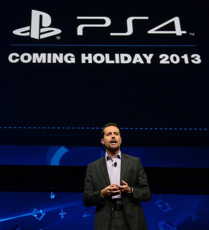 . Sony\'s Andrew House, current president and Group CEO of Sony Computer Entertainment, introduces the PlayStation 4 at a news conference February 20, 2013 in New York.  EMMANUEL DUNAND/AFP/Getty Images