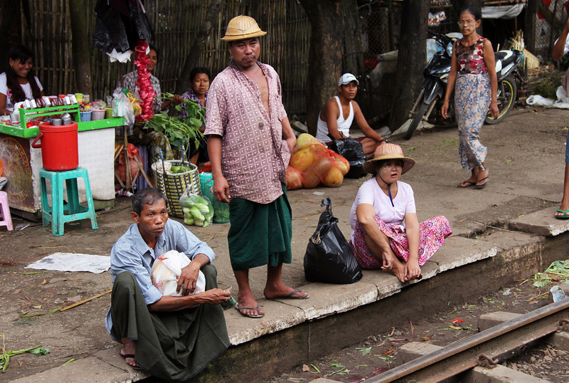 waiting for the train, and pith helmets!
